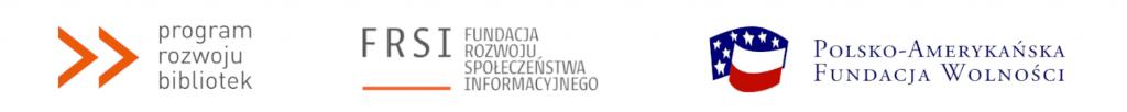 Od lewej: logo Programu Rozwoju Bibliotek, logo Fundacji Rozwoju Społeczeństwa Informacyjnego, logo Polsko-Amerykańskiej Fundacji Wolności