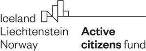 Logo Programu Aktywni Obywatele z tekstem: Iceland, Liechtenstein, Norway. Active Norway citizens fund.