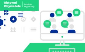 Rysunek komputera - na ekranie osoby uczestniczące w spotkaniu online. W lewym górnym rogu napis: Aktywni Obywatele - Fundusz Regionalny.